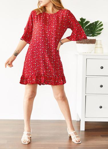 XHAN Çiçek Desenli Kısa Elbise 0Yxk6-43568-38 Kırmızı